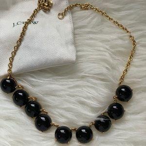 JCrew black enamel beaded collar necklace